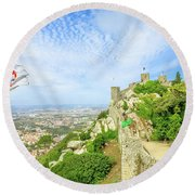 Sintra Castle Aerial Round Beach Towel