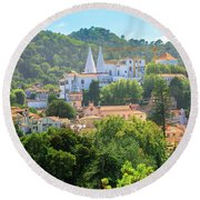 Sintra National Palace Aerial Round Beach Towel