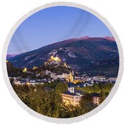 Sion At Night Round Beach Towel