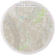 Sioux Falls South Dakota Us City Street Map Round Beach Towel