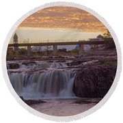 Sioux Falls Sunset Round Beach Towel
