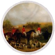 Sir Edmund Antrobus And The Old Surrey Fox Hounds At The Foot Of Round Beach Towel