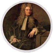 Sir Isaac Newton  Round Beach Towel by Sir Godfrey Kneller