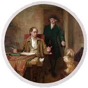 Sir Joshua Reynolds Visiting Goldsmith In His Study Round Beach Towel