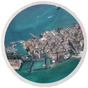 Sirmione's Castle Round Beach Towel