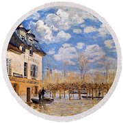 Sisley: Flood, 1876 Round Beach Towel