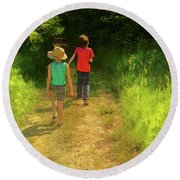 Sister And Brother Round Beach Towel