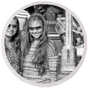 Sisters Out And About Round Beach Towel