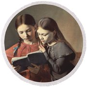Sisters Reading A Book Round Beach Towel