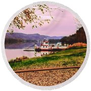 Sisters Ville Ferry Round Beach Towel