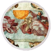 Sistine Chapel Ceiling Creation Of The Sun And Moon Round Beach Towel