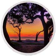 Sit With Me Driftwood Beach Sunrise Jekyll Island Georgia Round Beach Towel