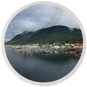Sitka Alaska From The John O'connell Bridge Is A Cable-stayed Bridge 2015 Round Beach Towel