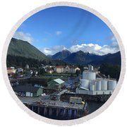 Sitka From The Waterfront Showing The Three Sisters In The Back 2015 Round Beach Towel