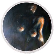 Sitted Female Nude Round Beach Towel