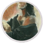 Sitted Woman Round Beach Towel