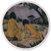 Sitting And Kneeling Figures On The Bank Of The Moritzburg Lakes Round Beach Towel