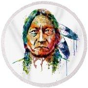 Sitting Bull Watercolor Painting Round Beach Towel