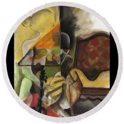 Sitting Figure II Round Beach Towel