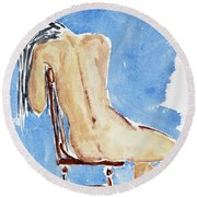 Sitting Girl Round Beach Towel