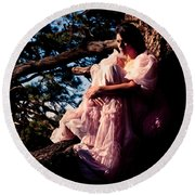 Sitting In A Tree Round Beach Towel