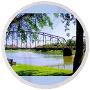 Sitting In Fort Benton Round Beach Towel