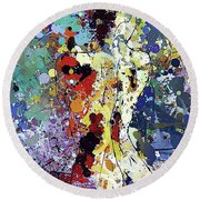 Sitting Nu Abstract Round Beach Towel