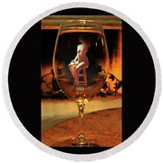 Sitting Nude In Glass Round Beach Towel