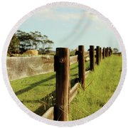 Sitting On The Fence Round Beach Towel