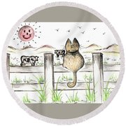 Sitting Watching Cows In The Meadow Round Beach Towel