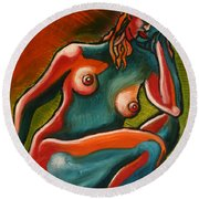 Sitting Woman In Fixed Motion Round Beach Towel