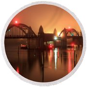 Siuslaw River Bridge At Night Round Beach Towel