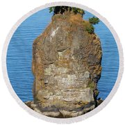 Siwash Rock By Stanley Park Round Beach Towel