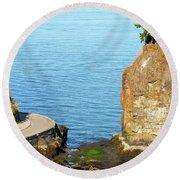 Siwash Rock By Stanley Park Seawall Round Beach Towel