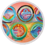 Six American Icons Round Beach Towel