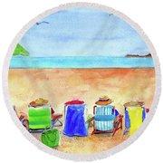 Six Beach Amigos Round Beach Towel