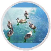 Six Ducks Swim Together Round Beach Towel