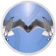 Six Heavenly Backlit Seagulls Flying Overhead In Blue Sky. Round Beach Towel