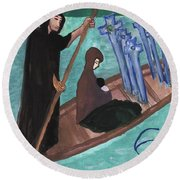 Six Of Swords Illustrated Round Beach Towel