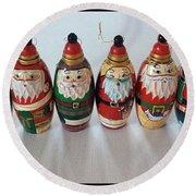 Six Russian Santas Round Beach Towel