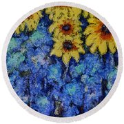 Six Sunflowers On Blue Round Beach Towel