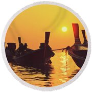 Six Thai Wooden Boats Floating And Glittering In The Lagoon During Golden Sunset Koh  Round Beach Towel