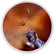 Six Wild Tigers Round Beach Towel
