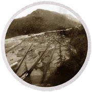 Skaguway, Alaska View From Hill Over Looking 1898 Round Beach Towel