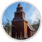 Skansen Church Round Beach Towel