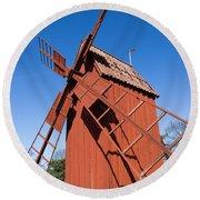 Skansen Windmill Round Beach Towel