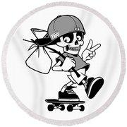 Skateboard X Skull Round Beach Towel