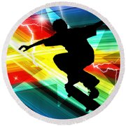 Skateboarder In Criss Cross Lightning Round Beach Towel by Elaine Plesser