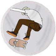 Skateboarding Round Beach Towel