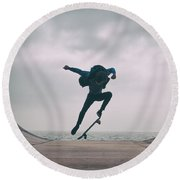 Skater Boy 004 Round Beach Towel